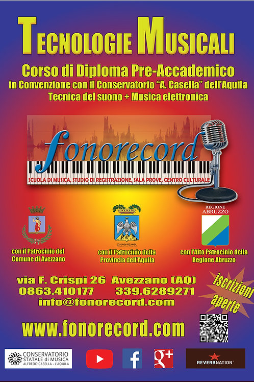 Iscrizione corso Diploma Preaccademico di Tecnologie Musicali