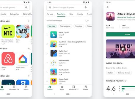 Android : le Google Play Store change d'interface et passe au Material Design