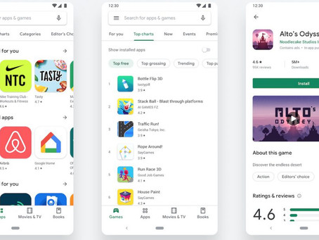 Android : le Google Play Store change d'interface et passe au Material Design