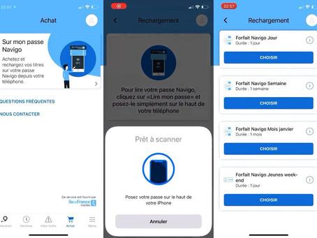 La recharge du pass Navigo avec l'iPhone est disponible