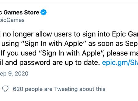 """Les utilisateurs d'Epic Games ne pourront plus utiliser """"Sign in with Apple"""""""