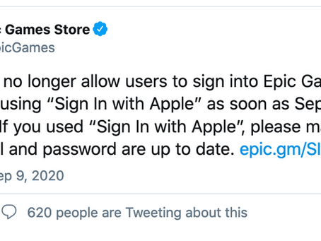 "Les utilisateurs d'Epic Games ne pourront plus utiliser ""Sign in with Apple"""