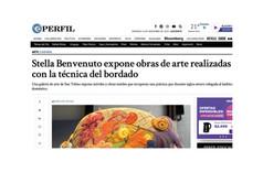Stella Benvenuto expone obras de arte realizadas con la técnica del bordado