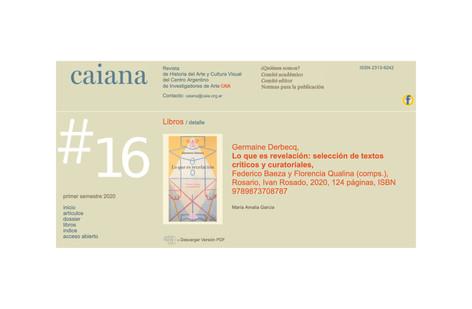 Germaine Derbecq,  Lo que es revelación: selección de textos críticos y curatoriales