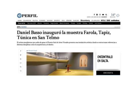 Daniel Basso inauguró la muestra Farola, Tapiz, Túnica en San Telmo
