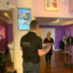 Digital signage screen installation, Chris Rushton