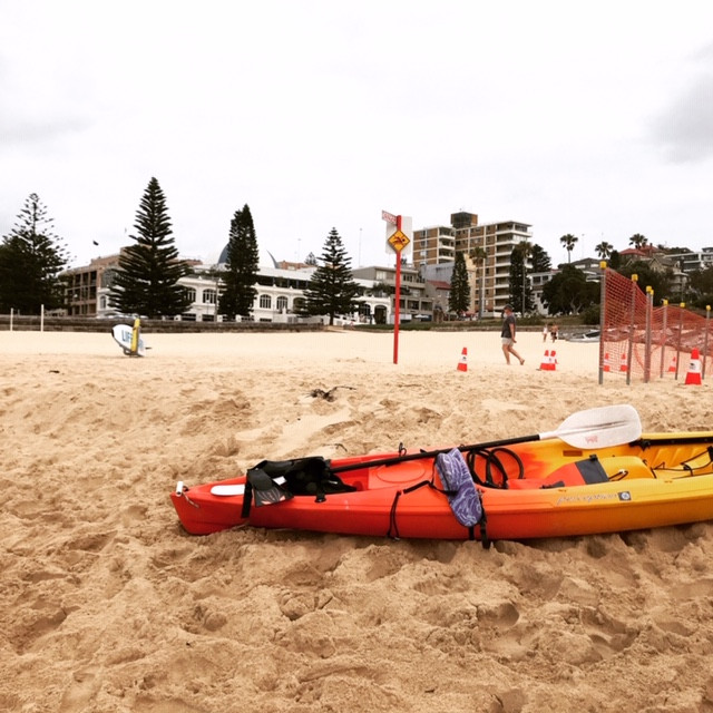 Our little kayak waiting for a spin on Coogee beach