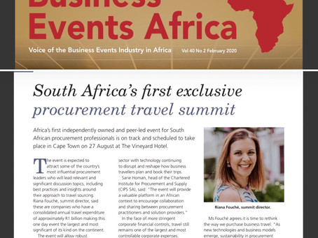 Feature article in the Business Events Africa Publication - February 2020