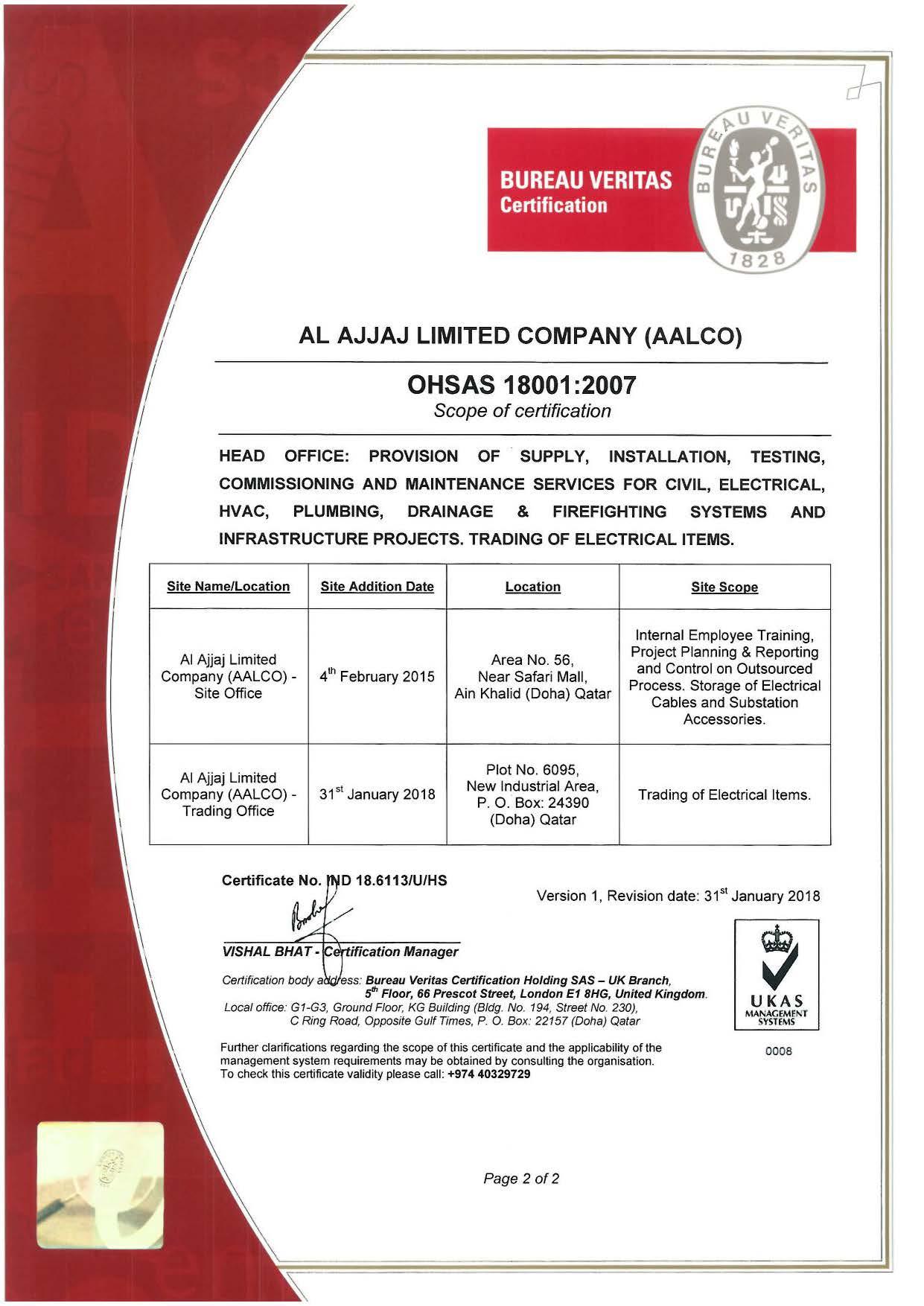 OHSAS 18001-2007 Certificate