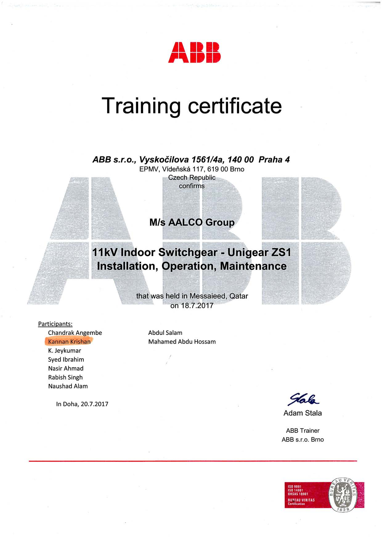 ABB Training Certficate