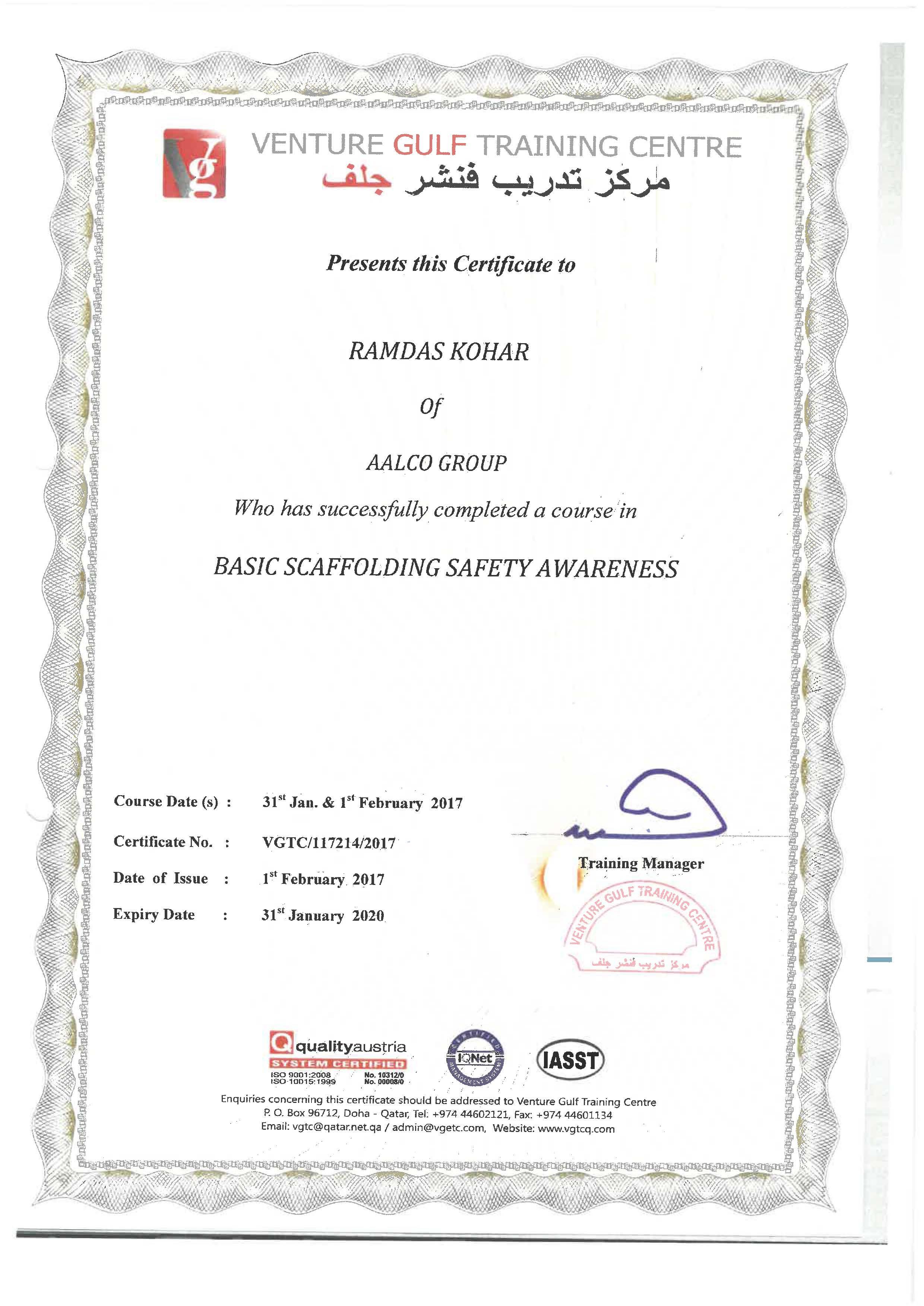 Scaffold Certificate