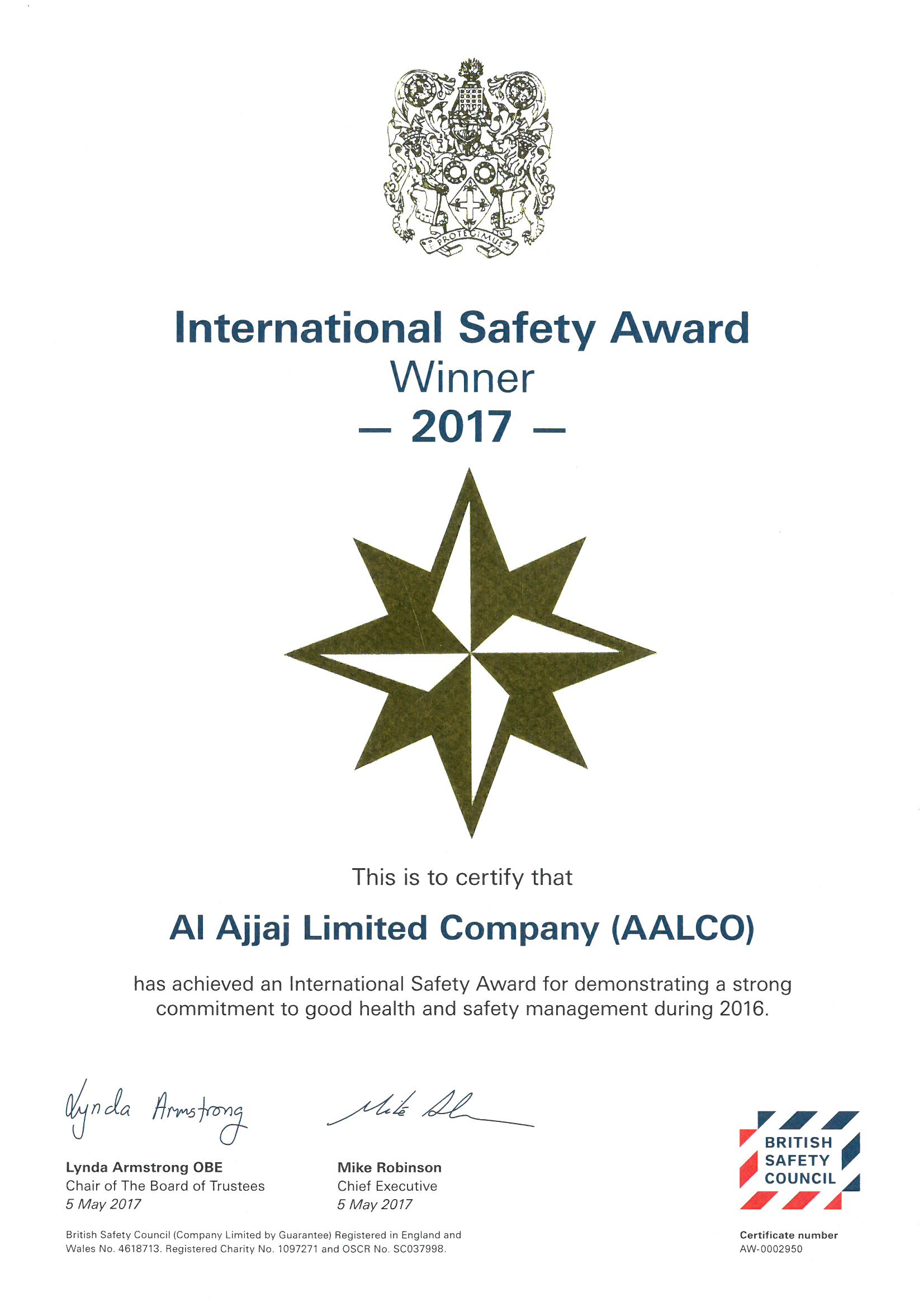 International Safety Award-2017