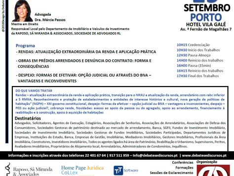 """Formação """"Arrendamento Urbano - Questões Controversas e Soluções Práticas"""" 19 Setembro - P"""
