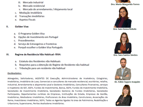 """MERCADO IMOBILIÁRIO GOLDEN VISA, REGIME PARA RESIDENTES NÃO HABITUAIS, Um """"Roteiro"""" Pelas Questões P"""