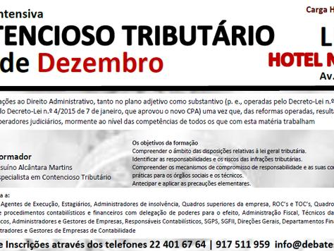"""Formação Intensiva de 2 Dias """"CONTENCIOSO TRIBUTÁRIO"""""""