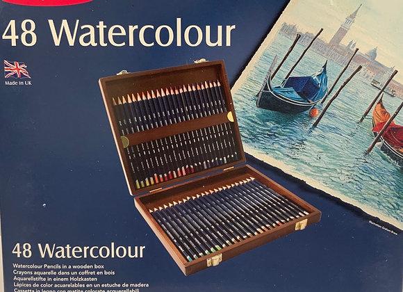 Derwent WATERCOLOUR Wood Box 48 Pencils