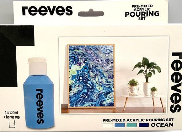Reeves Pouring medium set Ocean ,