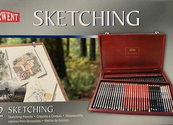 Derwent SKETCHING Wood Box 72 Pencils