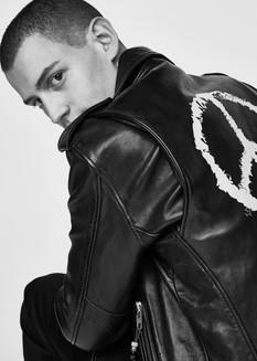Leather jacket, BLK Denim. Suit trousers, Oscar Jacobson.