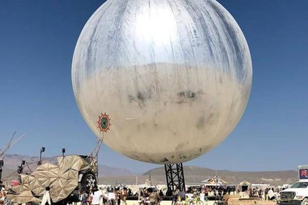The star piece of this year's Burning Man was arguably this huge, mirrored ball, which became a gathering post and a waypoint for people at the festival.