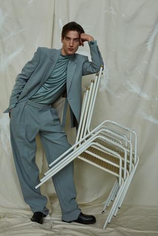 suit, blouse, shoes ERMENEGILDO ZEGNA