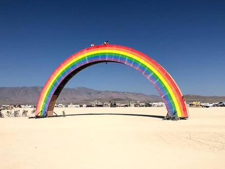 The 100-foot-long rainbow sat close to the centre of the site, with steps up the sides to allow passers-by to get a great view of the whole site.