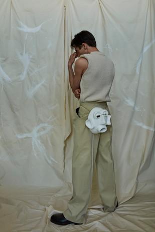 vest SAMSOE SAMSOE, trousers RAEY, shoes GIANVITO ROSSI, earrings MELANCHOLIA.CO mask Pura Cal