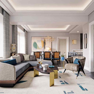 The living room in a condominium at the Waldorf Astoria