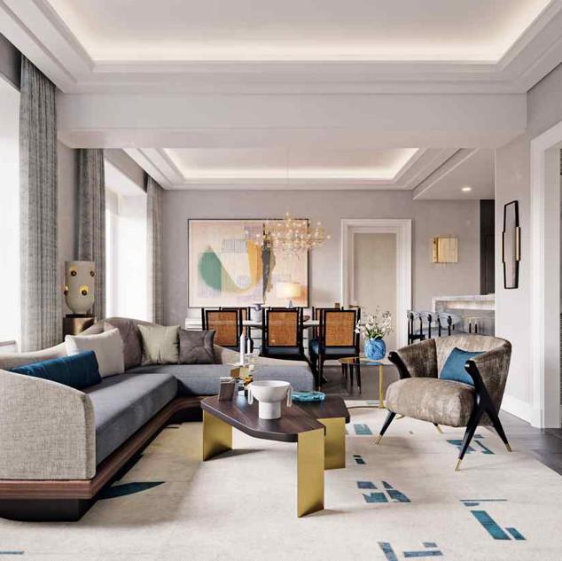 The living room in a condominium at the Waldorf Astoria
