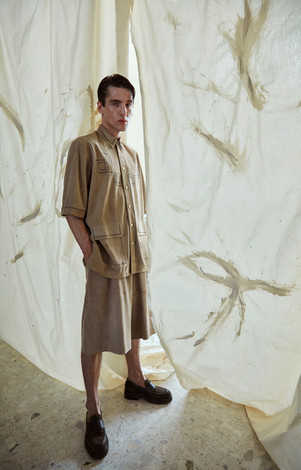 suede shirt and shorts FENDI, losers GIANVITO ROSSI