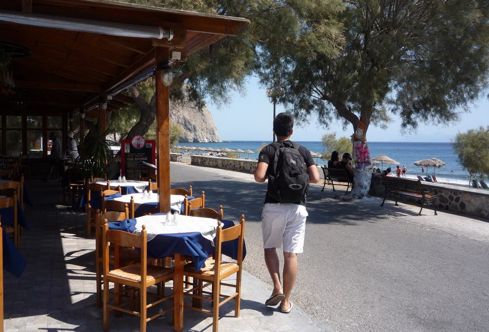 Perissa beach restaurants.JPG