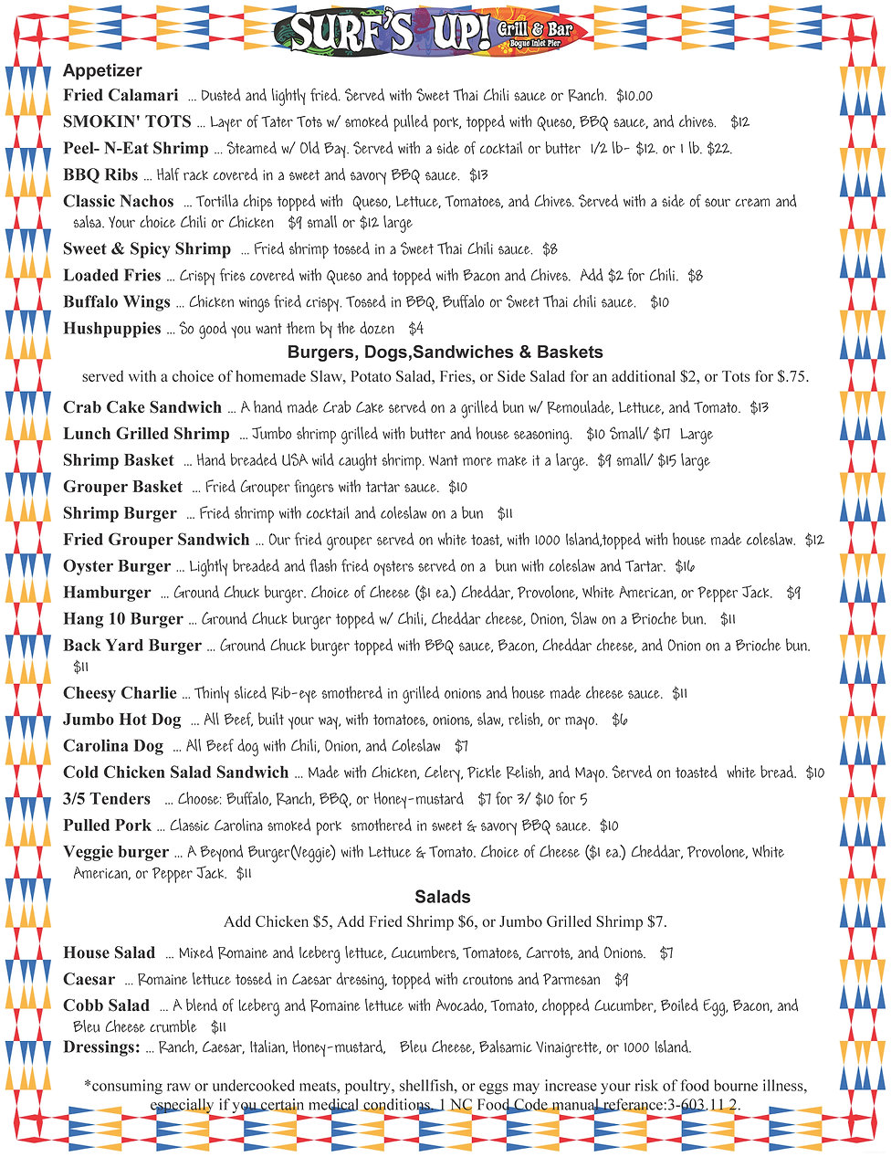 Surf's Up Emerald Isle NC Lunch Menu