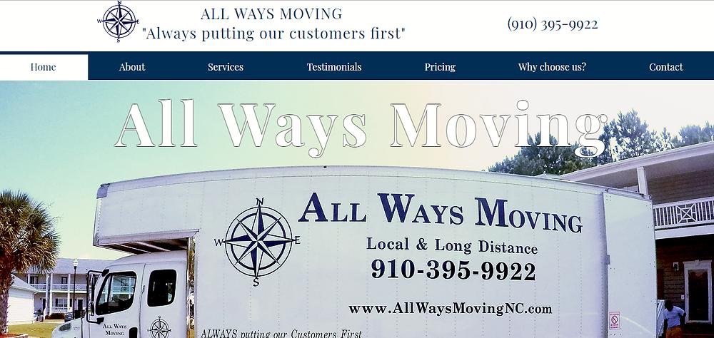 Website Design All Ways Moving | Jacksonville NC