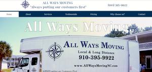 Website Design All Ways Moving   Jacksonville NC