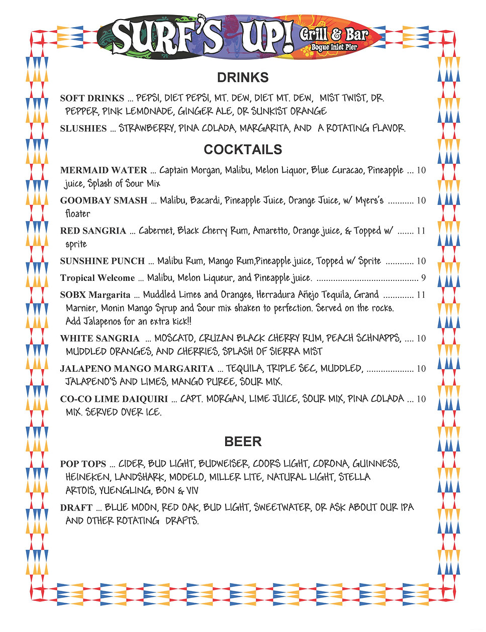 Surf's Up Emerald Isle NC Drink Menu