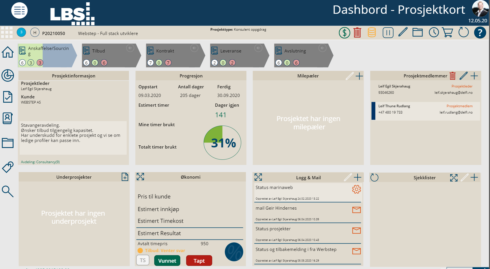 Prosjektdashboard for kontroll og oppfølging