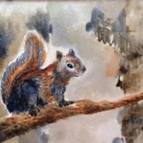 Squirrel with Watercolors