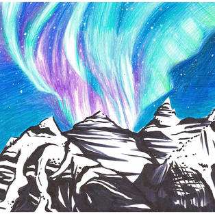 Emily LaForest, Grade 10  This was submitted to the spring Japanese Karuto Awards competition, an art competition associated with the 2020 Olympics Committee. This drawing won out for more than 1000 submissions for Emily's age category and will be included in an official deck of Karuto cards to represent the country of Canada.