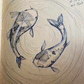 Khanh Nguyen, Grade 11  Khanh drew these Koi fish for Day 1 of Inktober and her reference is from Feng Shui.