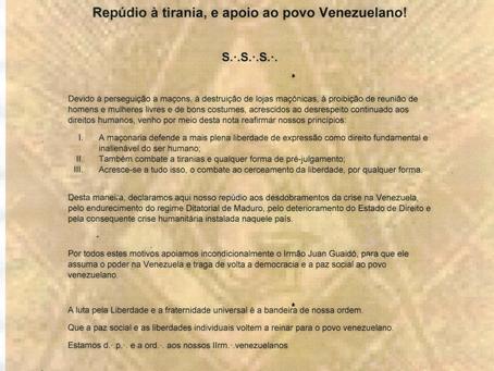 Repúdio à tirania, e apoio ao povo Venezuelano!