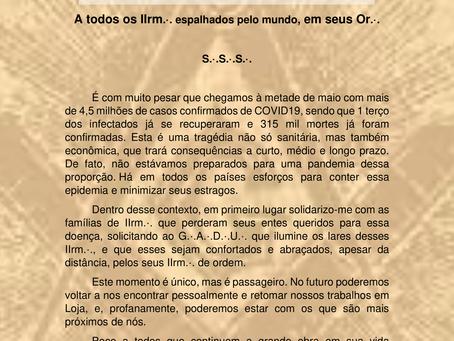 Nota de Pesar pelos mortos do COVID19