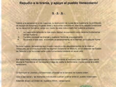 Repudio a la tiranía, y apoyo al pueblo Venezoelano!
