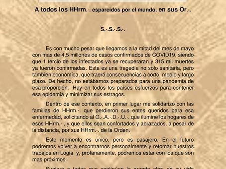 Nota de Pesames por las muertes de COVID19