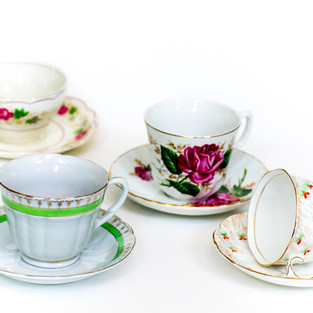 Mismatched Tea Cups with Saucers