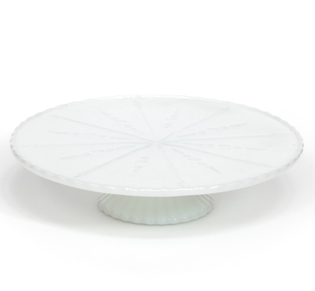 Milk Glass Arrows & Bubbles Cake Pedestal