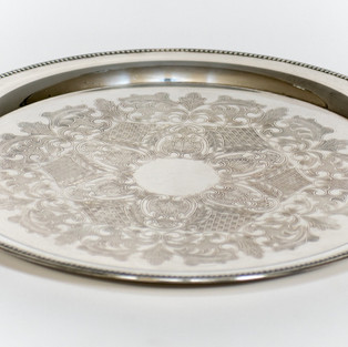Round Silver Serving Tray 2