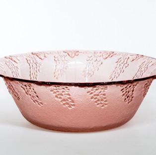 Pink Grape & Leaf Serving Bowl