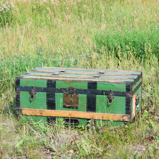 Canadian Pacific Green Steamer Trunk