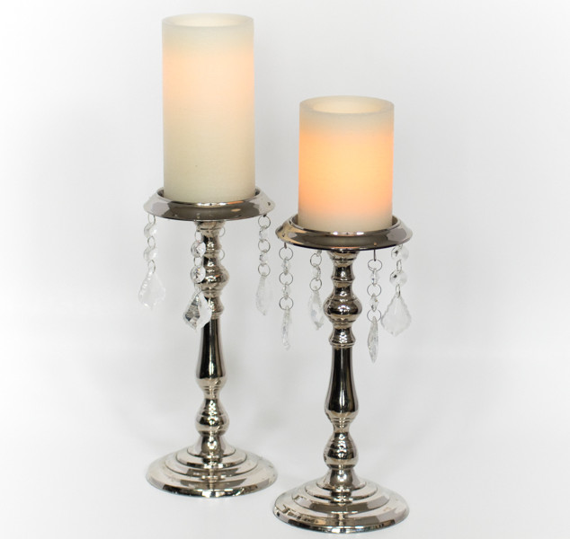 Silver Crystal Drop Candle Holders