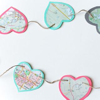 Traveling Map Heart Garland (6' long each)